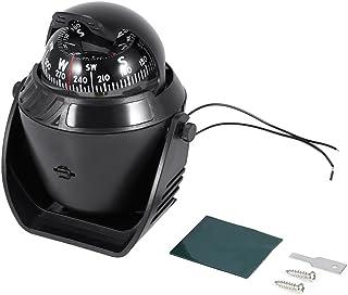 車載コンパス マリンコンパス 磁針 羅針盤 方位磁石 LEDライト付き 角度調節 トラック/ボード/マリン/車に適用