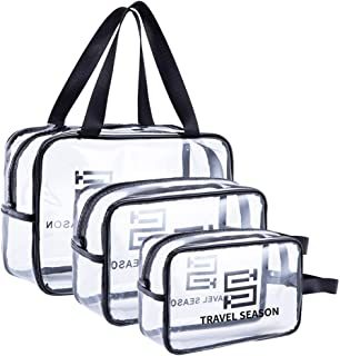 Belsmi 3 Set Clear Toiletry Bag - Cosmetic Bag Make Up Case for Men Women Portable Carry On - Large Capacity Waterproof Travel Organizer Accessory with Sturdy Handle for Vacation (White)