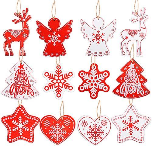VINFUTUR 48 Pz Ciondoli Pendenti Natalizi Legno Decorazioni Legno per Albero di Natale Abbellimenti Ornamenti Decorativi Appeso DIY Artigianato