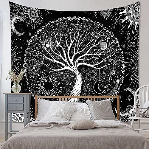 Tapiz Tapiz de Pared Tapices de Pared,Decoraciones de habitación psicodélica en Blanco y Negro, Mandala Bohemio Sol y Luna árbol Trippy Tapiz,Tapices para La Sala De Estar Dormitorio