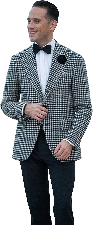 QZI Men's Suit Jacket Houndstooth Peak Lapel Two Pieces Set
