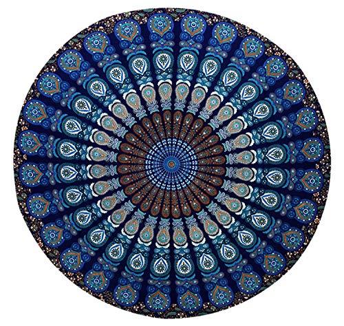 MY DREAM CARTS Tapiz Redondo de algodón Azul con diseño de Mandala India para Playa, Yoga, Picnic, Manta, Mantel, tapicería para Colgar en la Pared, Tapiz Redondo de meditación, Mantel de Peso Ligero