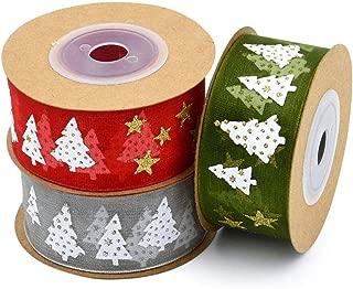 Christmas Ribbon 3 Rolls Cute Printed Ribbon for Christmas Theme Party Hanging Decor DIY Handmade GiftTulle Yarn Ribbon