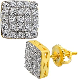 """Real Solid 925 Silver 14k Gold Plated Iced Diamond Earrings Screw Back Men's & Woman's Square 1/3"""" Hip Hop ICY"""