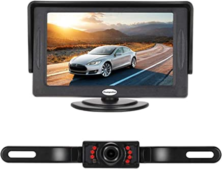 $27 Get Backup Camera and Monitor Kit for Car,Universal Wired Waterproof Rear-View License Plate Car Rear Backup Camera + 4.3 LCD Rear View Monitor (Camera and Monitor)