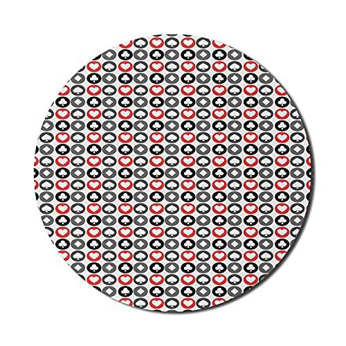 Ace of Diamonds Mauspad für Computer, sich wiederholendes Kartenspiel Deck Hearts Spades Diamonds Illustraiton, rundes, rutschfestes, dickes, modernes Gaming-Mousepad aus Gummi, 8 'rund, zinnoberrot u