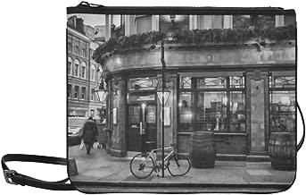 London Pub Illustration Black And White Version Pattern Custom High-grade Nylon Slim Clutch Bag Cross-body Bag Shoulder Bag