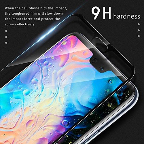 SGIN Huawei P20 Panzerglas Schutzfolie, [2 Stück] Premium Gehärtetem Glas Displayschutzfolie, Anti-Fingerabdruck, Blasenfrei, Anti-Kratzer, 9H Härtegrad, für Huawei P20 - Schwarz - 5