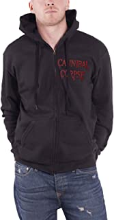 Cannibal Corpse Hoodie Red Before Black Band Logo Official Mens Black Zipped