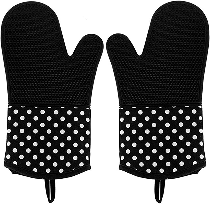 Vilapur Silicone Oven Mitts Heat Resistant To 572 F Kitchen Oven Gloves For Cooking Baking Barbebue Potholder Cooking Gloves 1 Pair Black