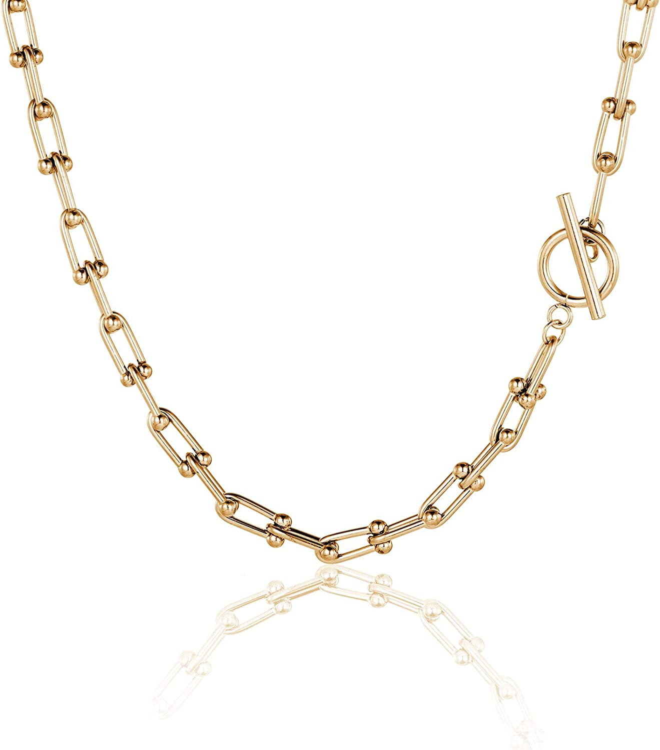 ivyAnan Jewellery Chain Necklace Link U Shape Stick Gold Stainless Steel for Women