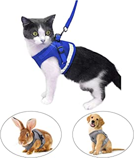 Escape Proof Cat Harness and Leash for Walking Adjustable Soft Mesh Pet Vest with Lead for Kitten Puppy Rabbit