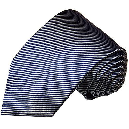 Paul Malone Krawatte extra lange 165cm blaue silber gestreifte Seidenkrawatte schmale 6cm