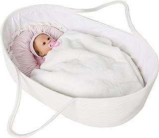 Goodpick Cotton Rope Basket for Newborn Baby - Nursery Cradle Bedding Basket - Toys Basket Blanket Basket with Cotton Lining and Handles - Moses Basket, 25.6