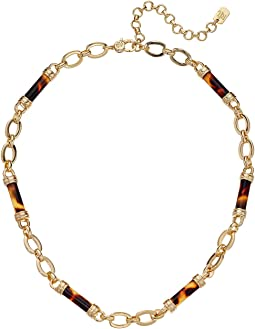 "16"" Tortoise Barrel Frontal Necklace"