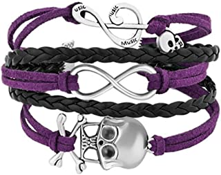 JewelryJo Leather Wrap Styel Gypsy Boho Hippie Bohemian Charm Bracelets with Infinity Celtic Knot Skull Rocker Music Note Pendants for Women Girls Boys