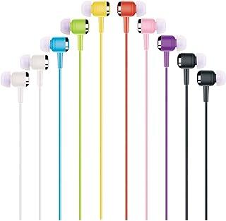 Gadget.Cool 3.5mm Color Earphones Bulk - Pack of 10 Wholesale Earphones, 8 Assorted Colors, Standard Sound Quality, Soft S...