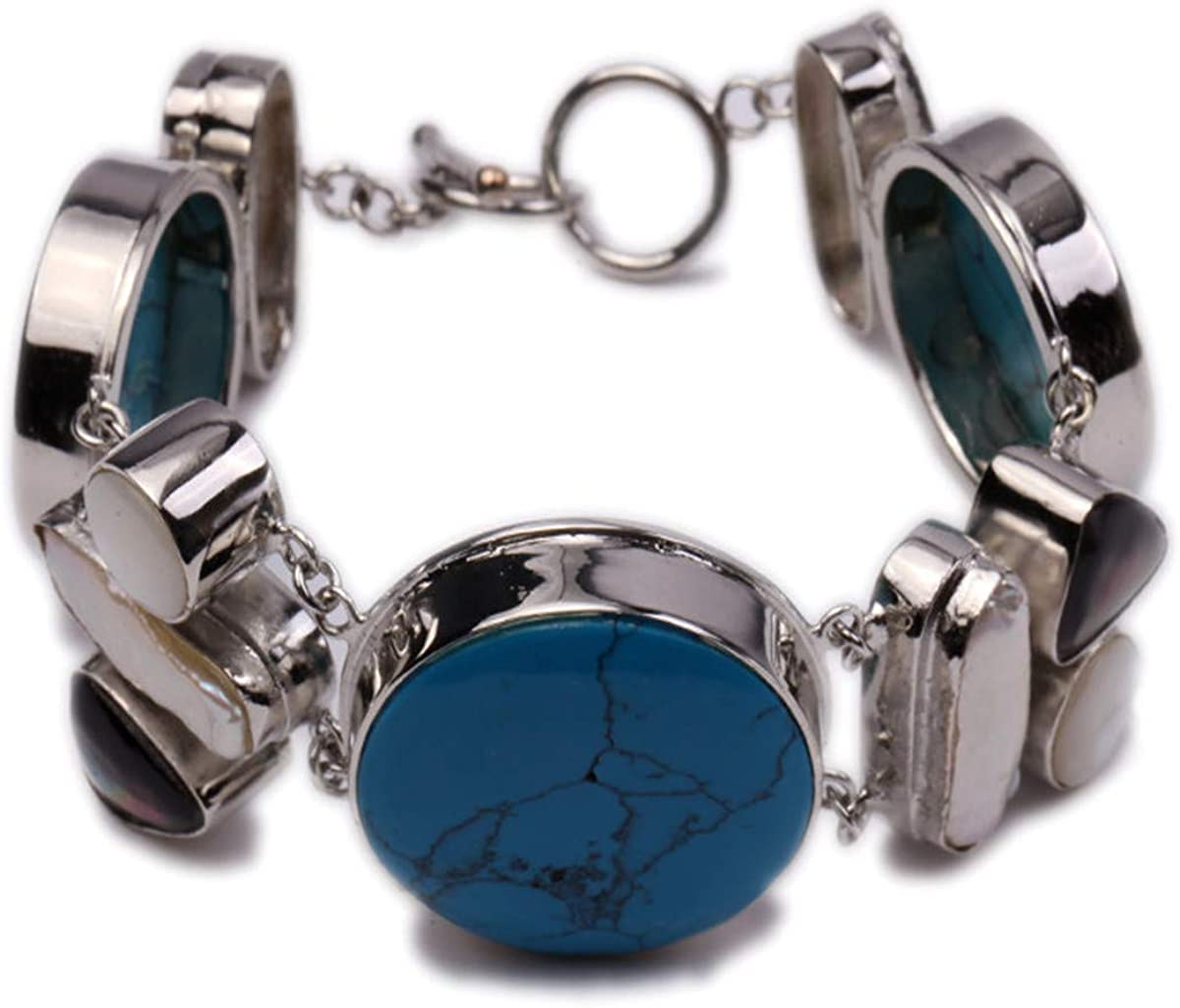 JYX Ethnic Bohemia Bangle 25-30mm Blue Turquoise and Shell Pearl inlaid Bracelet Cuff Chain Jewelry 8.5