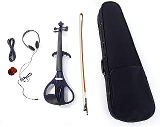 "LJ1 4/4 ""Basswood Electric Violin، Case، Rosin، Head Head، Bow، Line Connecting Purple - Set ویولون ، یک ساز ارزان قیمت برای کودکان مبتدی دانش آموزان بزرگسالان"
