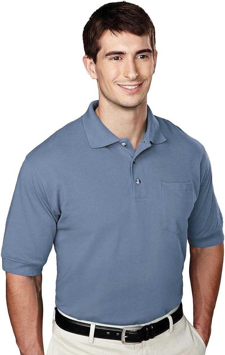 Tri-mountain Mens 60/40 pique pocketed golf shirt. - SLATE BLUE