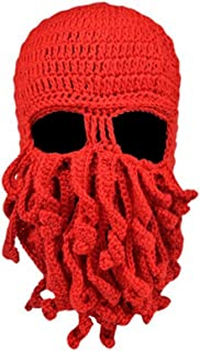 Fashionclubs Women Men Winter Warm Octopus Entacle Beanie Wind Mask Knit Hat Cthulhu Fisher Cap (Red)
