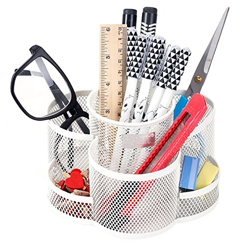 Rotating Mesh Metal 7 Compartment Desktop Office Supplies Storage Organizer Caddy, White