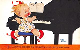 Mabel Lucie Attwell Baby Girl Playing Piano Greeting Antique Postcard K80003