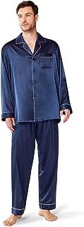 Mens Silky Satin Pajama Sets, Long Sleeve Button Down Sleepwear Loungewear