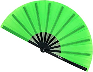 STHUAHE Large Folding Fans Rave Hand Fans Festival Fans for Women Men, Chinese Japanes Bamboo Fan Hand Held Folding Fan for Music Festival, EDM, Performance, Gifts, Party, Decoration (Green)