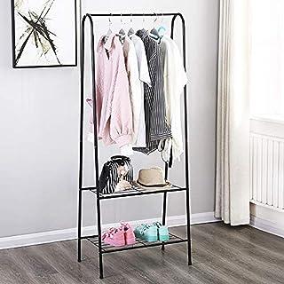House of Quirk Storage Shelves Wrought Iron Coat Rack Floor Hanger Sleek Minimalist Creative Clothes Rack Bedroom Hanger R...