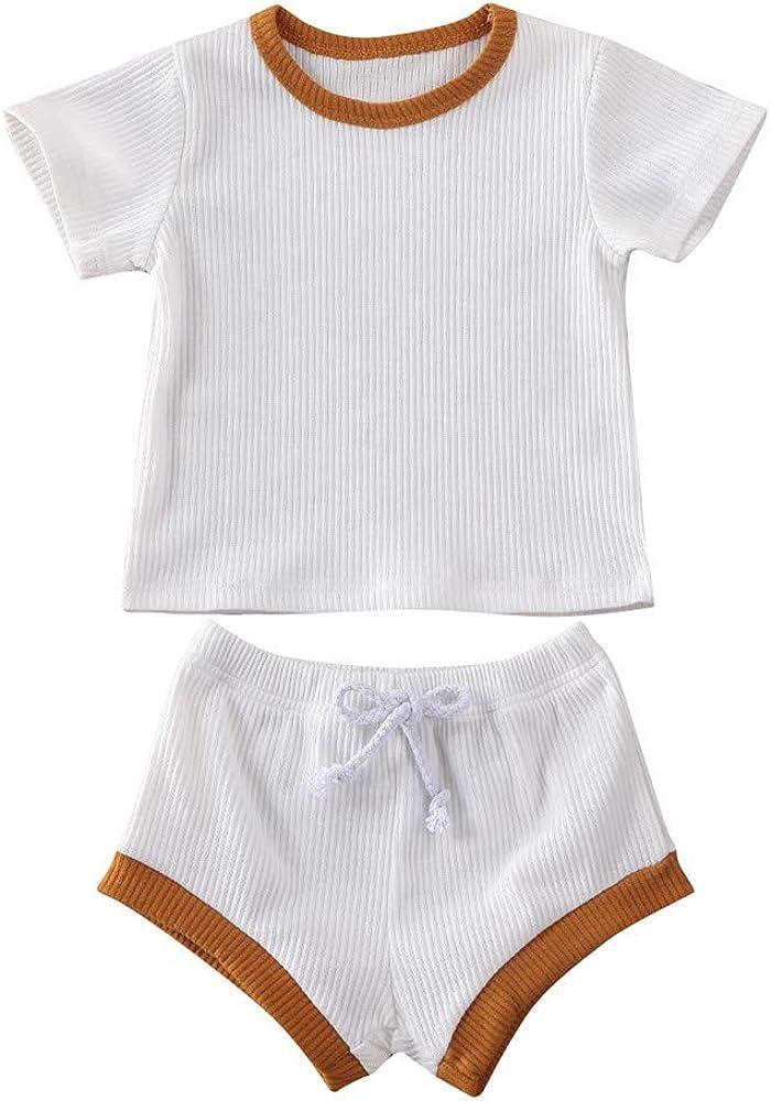 Infant Toddler Baby Girls Boys Summer Clothing Ribbed Short Sleeve T-Shirt & Drawstring Shorts Outfits Set