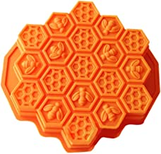 eoocvt Bee Honeycomb Cake Mold Mould Soap Mold Silicone Flexible Chocolate Mold (Orange)