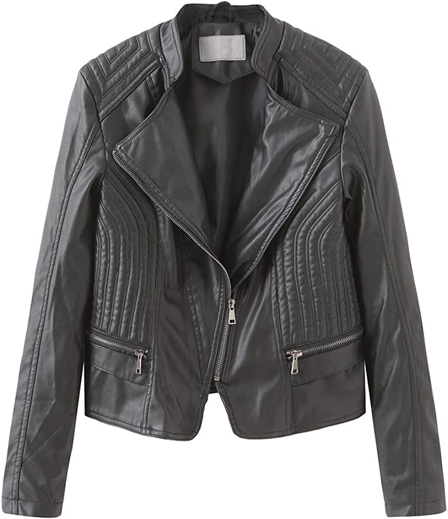 Chowsir Women Casual Asymmetric Zip-Up Motorcycle Short Leather Biker Jacket (X-Large, Black)