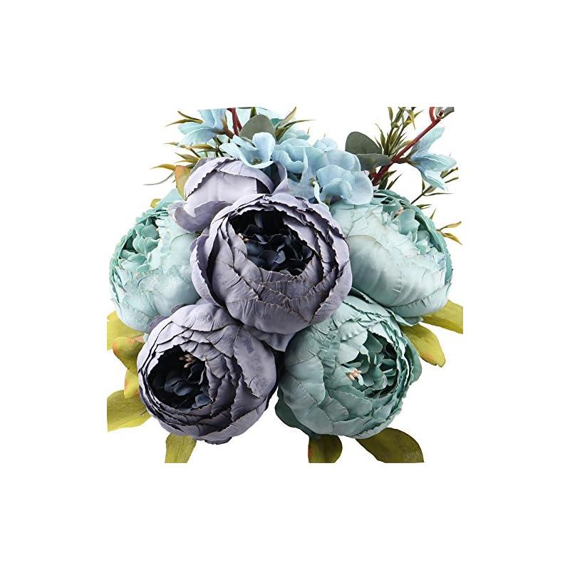 silk flower arrangements leagelfake flowers vintage artificial peony silk flowers bouquet wedding home decoration, pack of 1 (spring blue)