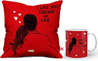 Indigifts For Valentine Red Printed Cushion 12X12 With Filler And Coffee Mug I Love You Forever