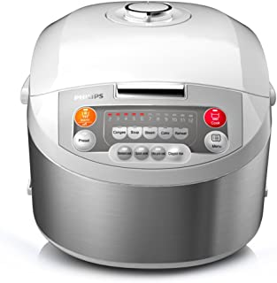 Philips Stainless steel RiceCooker 1.8L 980W HD3038/56, 3D heating function, 2.0mm 5-layer inner pot, durable and non-stic...