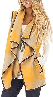 Womens Casual Lapel Open Front Plaid Vest Cardigan Coat...
