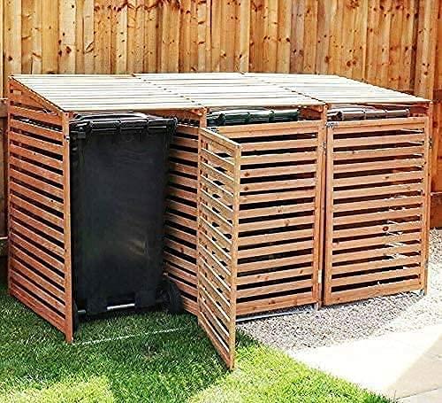 Triple Wheelie Bin Storage Hideaway Wooden Store Cover Garden Rubbish Dustbin Conceals Three (3) 240L Compartments - WINNER 2021*