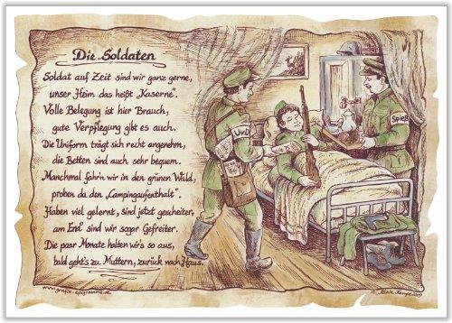 Die Staffelei Geschenk Karte Berufsbild Soldaten Soldat Gefreiter Zeichnung mit Gedicht, 30 x 21 cm