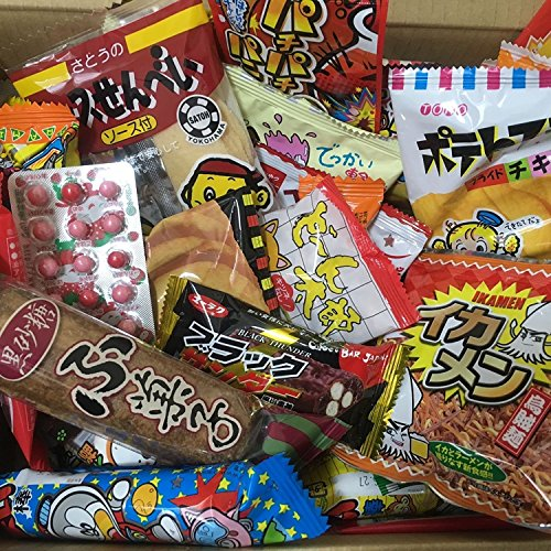 Dagashi Box Snacks japoneses 60pcs Umaibo Candy Gumi patata Chip Kitty chocolate con AKIBA KING Sticker