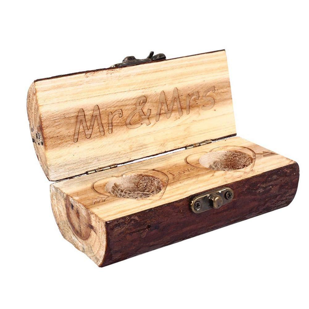 Caja de Madera rústica para alianzas, Vintage, para San Valentín, Aniversario, Compromiso, Regalo de Boda, joyero: Amazon.es: Hogar