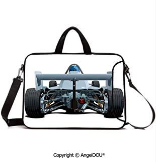 AngelDOU Customized Neoprene Printed Laptop Bag Notebook Handbag Back View of a Formula 1 Race Car Rally Competition Sports Cartoon Style Compatible with mac air mi pro/Lenovo/asus/acer Bluegrey