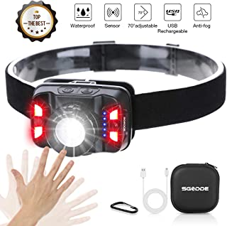 SGODDE USB Rechargeable Headlamp, 2019 New Motion Sensor 260 Lumens Head Lamp LED Headlamp Flashlight, Red Light, 1800mAh 5 Modes Lightweight Perfect for Night Fishing, Camping, Hiking, Outdoors