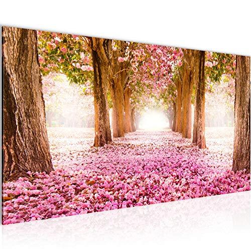 Bilder Wald Landschaft Wandbild Vlies - Leinwand Bild XXL Format Wandbilder Wohnzimmer Wohnung Deko Kunstdrucke Rosa 1 Teilig - MADE IN GERMANY - Fertig zum Aufhängen 605612a