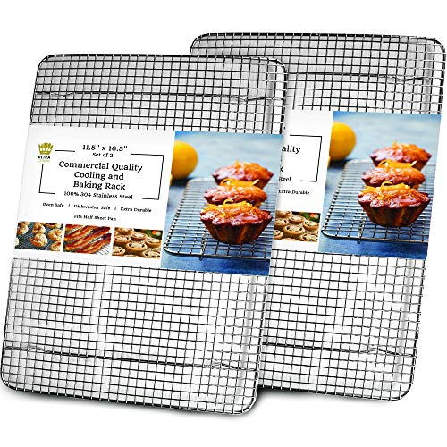 Oven-Safe, Dishwasher-Safe 100% Stainless Steel Cooling and Baking Rack Set - Half Sheet Pan Cooling Racks - Food-Safe, Heavy Duty Large Wire Cooling Racks For Baking - 11.5 x 16.5-inch - Set of 2