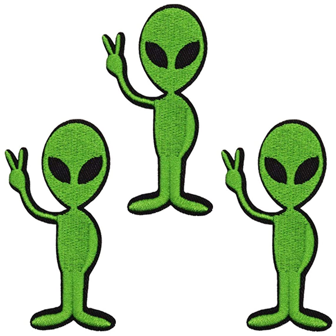 U-Sky Sew or Iron on Patches - Hello Cute Alien Patch for Jackets, Jeans, Clothing, Backpacks - Pack of 3pcs - Size:3.1x1.5inch
