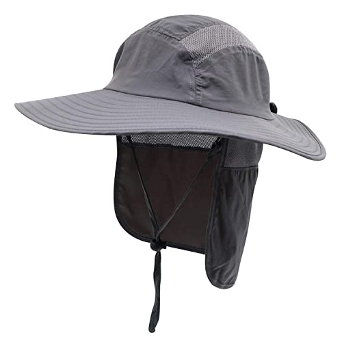 e0263092c21 Home Prefer Mens UPF 50+ Sun Protection Cap Wide Brim Fishing Hat with Neck  Flap