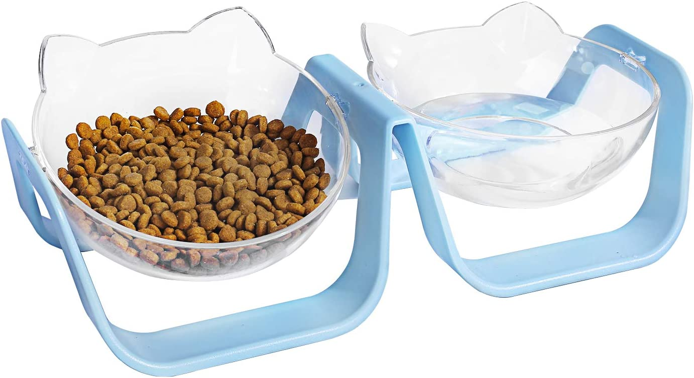 Max 40% OFF Ranking TOP3 DHAWS Double Cat Dog Bowl Water Food 0 18°Tilt Elevated