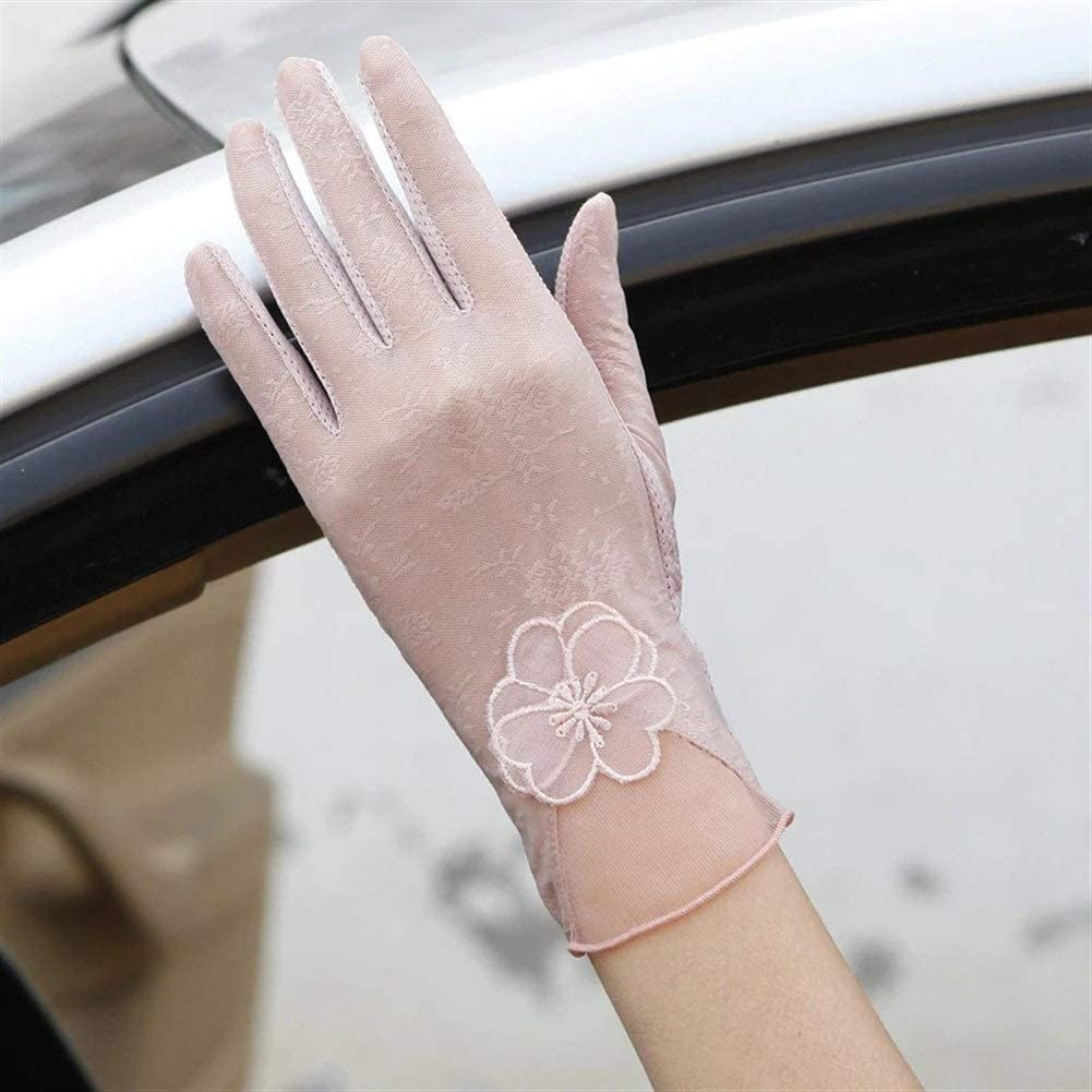 FASGION Sexy Spring Summer Women Autumn UV Sunscreen Short Sun Gloves Fashion Ice Silk Lace Driving of Thin Touch Screen Gloves (Color : Pink)