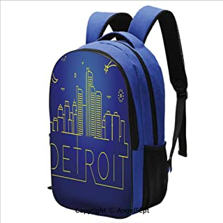 Classical Basic Travel Backpack For School Minimalistic Cityscape of Detroit Ar
